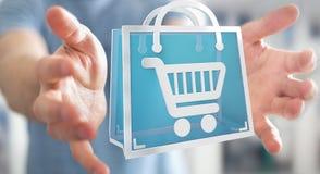 Uomo d'affari facendo uso della rappresentazione digitale delle icone 3D di acquisto Fotografia Stock Libera da Diritti