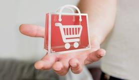 Uomo d'affari facendo uso della rappresentazione digitale delle icone 3D di acquisto Immagini Stock