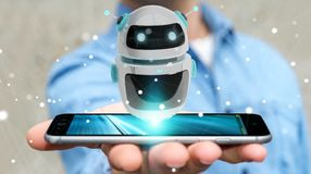 Uomo d'affari facendo uso della rappresentazione digitale di applicazione 3D del robot del chatbot Immagine Stock