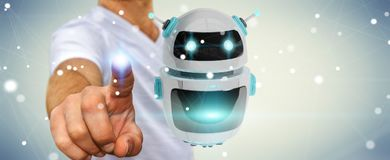 Uomo d'affari facendo uso della rappresentazione digitale di applicazione 3D del robot del chatbot Immagine Stock Libera da Diritti