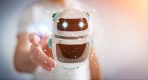Uomo d'affari facendo uso della rappresentazione digitale di applicazione 3D del robot del chatbot Fotografia Stock