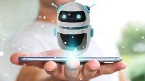 Uomo d'affari facendo uso della rappresentazione digitale di applicazione 3D del robot del chatbot Fotografie Stock
