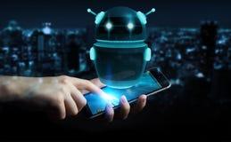 Uomo d'affari facendo uso della rappresentazione digitale di applicazione 3D del robot del chatbot Fotografie Stock Libere da Diritti