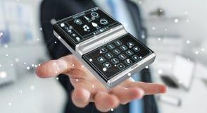 Uomo d'affari facendo uso della rappresentazione domestica astuta del dispositivo a distanza 3D Fotografie Stock