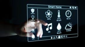 Uomo d'affari facendo uso della rappresentazione domestica astuta dell'interfaccia digitale 3D Fotografia Stock