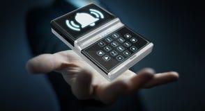 Uomo d'affari facendo uso della rappresentazione domestica del dispositivo di sicurezza dell'allarme 3D Fotografie Stock