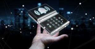Uomo d'affari facendo uso della rappresentazione domestica del dispositivo di sicurezza dell'allarme 3D Fotografia Stock
