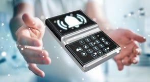 Uomo d'affari facendo uso della rappresentazione domestica del dispositivo di sicurezza dell'allarme 3D Immagini Stock