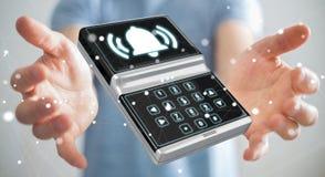 Uomo d'affari facendo uso della rappresentazione domestica del dispositivo di sicurezza dell'allarme 3D Immagine Stock