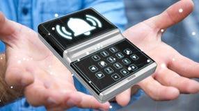 Uomo d'affari facendo uso della rappresentazione domestica del dispositivo di sicurezza dell'allarme 3D Fotografie Stock Libere da Diritti