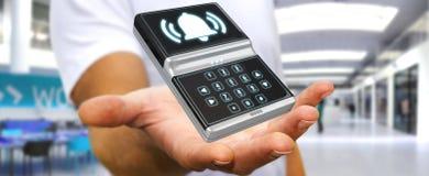 Uomo d'affari facendo uso della rappresentazione domestica del dispositivo di sicurezza dell'allarme 3D Immagini Stock Libere da Diritti