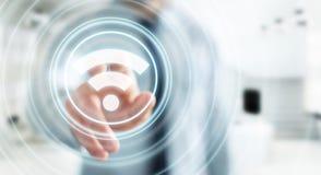 Uomo d'affari facendo uso della rappresentazione libera dell'interfaccia 3D di punto caldo di wifi Fotografia Stock Libera da Diritti