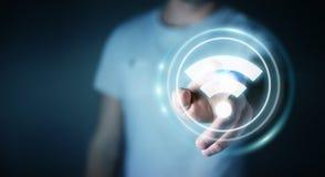 Uomo d'affari facendo uso della rappresentazione libera dell'interfaccia 3D di punto caldo di wifi Immagini Stock