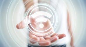 Uomo d'affari facendo uso della rappresentazione libera dell'interfaccia 3D di punto caldo di wifi Immagine Stock Libera da Diritti