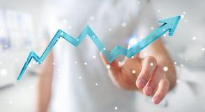 Uomo d'affari facendo uso della rappresentazione moderna digitale della freccia 3D Immagini Stock