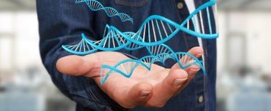 Uomo d'affari facendo uso della rappresentazione moderna della struttura 3D del DNA Fotografie Stock