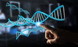 Uomo d'affari facendo uso della rappresentazione moderna della struttura 3D del DNA Fotografia Stock