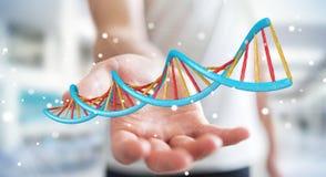 Uomo d'affari facendo uso della rappresentazione moderna della struttura 3D del DNA Immagine Stock