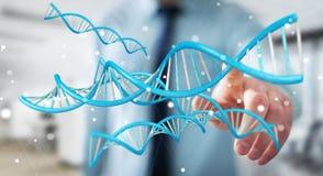 Uomo d'affari facendo uso della rappresentazione moderna della struttura 3D del DNA Immagini Stock