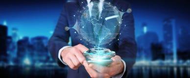 Uomo d'affari facendo uso della rete del globo con il rende digitale del collegamento 3D Fotografia Stock