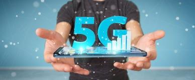 Uomo d'affari facendo uso della rete 5G con la rappresentazione del telefono cellulare 3D illustrazione di stock