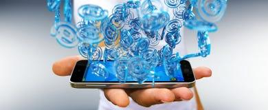 Uomo d'affari facendo uso della sfera blu di arobase digitale da praticare il surfing sull'interno Immagini Stock Libere da Diritti