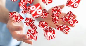 Uomo d'affari facendo uso delle vendite bianche e rosse che pilotano la rappresentazione delle icone 3D Fotografie Stock
