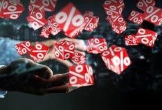 Uomo d'affari facendo uso delle vendite bianche e rosse che pilotano la rappresentazione delle icone 3D Immagine Stock Libera da Diritti