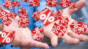 Uomo d'affari facendo uso delle vendite bianche e rosse che pilotano la rappresentazione delle icone 3D Immagine Stock