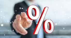 Uomo d'affari facendo uso delle vendite bianche e rosse che pilotano la rappresentazione delle icone 3D Immagini Stock