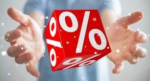 Uomo d'affari facendo uso delle vendite bianche e rosse che pilotano la rappresentazione delle icone 3D Immagini Stock Libere da Diritti