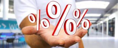 Uomo d'affari facendo uso delle vendite bianche e rosse che pilotano la rappresentazione delle icone 3D Fotografia Stock