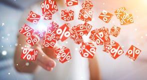 Uomo d'affari facendo uso delle vendite bianche e rosse che pilotano la rappresentazione delle icone 3D Fotografia Stock Libera da Diritti