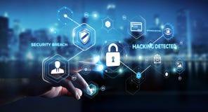 Uomo d'affari facendo uso di antivirus per bloccare una rappresentazione cyber di attacco 3D Fotografia Stock
