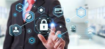 Uomo d'affari facendo uso di antivirus per bloccare una rappresentazione cyber di attacco 3D Immagini Stock