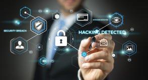 Uomo d'affari facendo uso di antivirus per bloccare una rappresentazione cyber di attacco 3D Immagine Stock Libera da Diritti