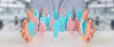 Uomo d'affari facendo uso di 3D che rende gruppo di persone Immagine Stock