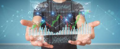 Uomo d'affari facendo uso di 3D che rende i dati ed i grafici di borsa valori illustrazione vettoriale