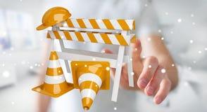 Uomo d'affari facendo uso di 3D digitale che rende i segni in costruzione Fotografia Stock