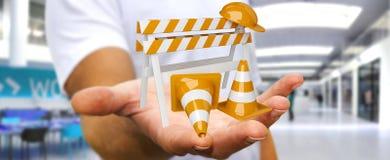 Uomo d'affari facendo uso di 3D digitale che rende i segni in costruzione Immagini Stock
