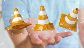 Uomo d'affari facendo uso di 3D digitale che rende i segni in costruzione Immagini Stock Libere da Diritti