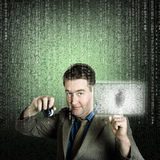 Uomo d'affari facendo uso di protezione dei dati digitale di sicurezza Fotografia Stock