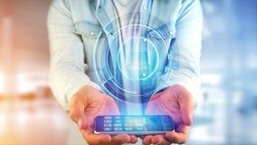 Uomo d'affari facendo uso di un bottone technologic del computer di Shinny su uno smar Fotografia Stock Libera da Diritti