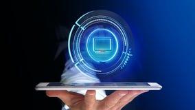 Uomo d'affari facendo uso di un bottone technologic del computer di Shinny su uno smar Fotografie Stock Libere da Diritti