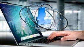 Uomo d'affari facendo uso di un computer con un segno di valuta cripto di Bitcoin Fotografie Stock Libere da Diritti