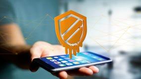 Uomo d'affari facendo uso di uno smartphone con un attacco dell'unità di elaborazione di fusione Immagine Stock Libera da Diritti
