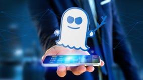 Uomo d'affari facendo uso di uno smartphone con un attacco w dell'unità di elaborazione dello spettro Fotografie Stock Libere da Diritti
