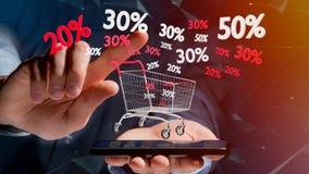 Uomo d'affari facendo uso di uno smartphone con un carrello rosso e bianco e Fotografia Stock Libera da Diritti