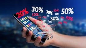 Uomo d'affari facendo uso di uno smartphone con un carrello rosso e bianco e Immagine Stock