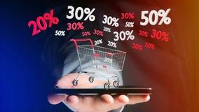 Uomo d'affari facendo uso di uno smartphone con un carrello rosso e bianco e Immagini Stock Libere da Diritti